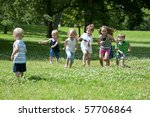 children at play on a sunny day ... | Shutterstock . vector #57706864