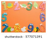funny number isolated on orange ...   Shutterstock . vector #577071391