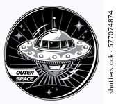 outer space ufo alien spaceship ... | Shutterstock .eps vector #577074874