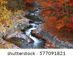 valley and river in japan. | Shutterstock . vector #577091821