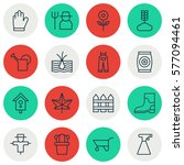 set of 16 farm icons. includes... | Shutterstock . vector #577094461