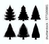 set of tree pine silhouette... | Shutterstock .eps vector #577100881