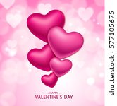 valentine's day hearts on pink... | Shutterstock .eps vector #577105675