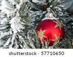 Red Glass Christmas Bauble On A ...