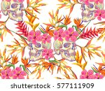 seamless summer tropical... | Shutterstock .eps vector #577111909
