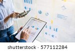 business man analysis data... | Shutterstock . vector #577112284