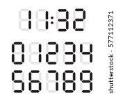 digital number font text set