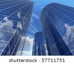 Business building with reflection on the blue sky background - stock photo