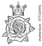 blackwork tattoo flash with... | Shutterstock .eps vector #577123441