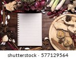 spices with ingredients on... | Shutterstock . vector #577129564