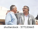 senior friends enjoying city... | Shutterstock . vector #577133665