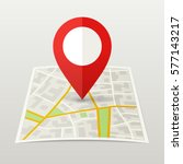 city map with marker. | Shutterstock .eps vector #577143217