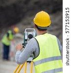 surveyor engineers working with ...   Shutterstock . vector #577153915