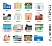city buildings flat icons on... | Shutterstock .eps vector #577154221