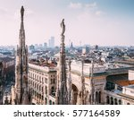 numerous statues on steeples... | Shutterstock . vector #577164589