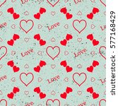 heart seamless pattern. red... | Shutterstock .eps vector #577168429