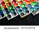 paint lay on the black surface  ... | Shutterstock . vector #577173775