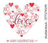happy valentines day   hand...   Shutterstock .eps vector #577174195