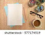 wood office desk table with... | Shutterstock . vector #577174519