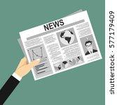 newspaper in hand news flat... | Shutterstock .eps vector #577179409