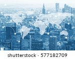 double exposure global world... | Shutterstock . vector #577182709