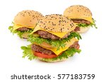 hamburger with cutlet and... | Shutterstock . vector #577183759