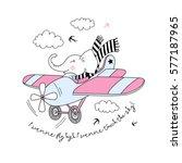 elephant  pilot flying plane  ... | Shutterstock .eps vector #577187965