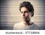 Small photo of embitter man with backgrounds