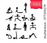 stick figures in different yoga ... | Shutterstock .eps vector #577193179