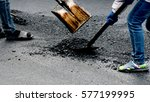 workers on asphalting paver...   Shutterstock . vector #577199995