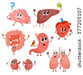 set of cute and funny healthy... | Shutterstock .eps vector #577205107