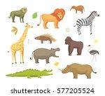 african animals cartoon vector... | Shutterstock .eps vector #577205524