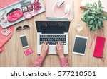 fashion blogger working at... | Shutterstock . vector #577210501