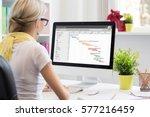 woman using gantt chart for... | Shutterstock . vector #577216459