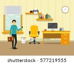 man holding briefcase and... | Shutterstock .eps vector #577219555