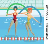water aerobics with noodles.... | Shutterstock .eps vector #577220605