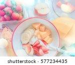 top view of making fresh fruit...   Shutterstock . vector #577234435