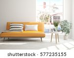white room with sofa and winter ... | Shutterstock . vector #577235155