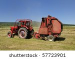Circular Hay Baler And Red...