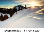 Sunrise In Snowy Winter Alps ...