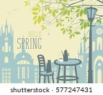 spring city landscape with two... | Shutterstock .eps vector #577247431