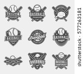 vector set of baseball logos ... | Shutterstock .eps vector #577263181