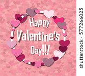 happy valentines day . pink... | Shutterstock . vector #577266025