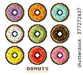 vector donut set. colored... | Shutterstock .eps vector #577272637