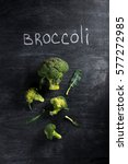 top view picture of broccoli... | Shutterstock . vector #577272985