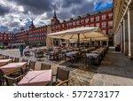 plaza mayor in madrid  spain.... | Shutterstock . vector #577273177