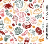 hand drawn pattern with... | Shutterstock .eps vector #577274881
