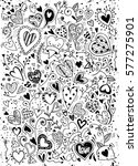 sketchy love and hearts doodles ... | Shutterstock .eps vector #577275901