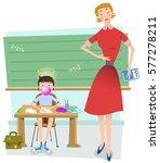 boy in class blows bubble gum... | Shutterstock .eps vector #577278211