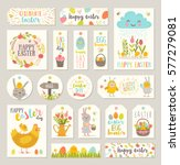 set of easter gift tags and... | Shutterstock .eps vector #577279081